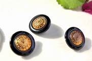"Old Fashioned Vintage Gold Plastic Shank Black Buttons 1"" inch (12 pcs)"