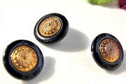 "Old Fashioned Vintage Metallic Gold Shank Black Buttons 1"" inch (12 pcs)"