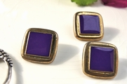 "Old Fashioned Vintage Gold Plastic Shank Purple Square Buttons 1"" (10 pcs)"