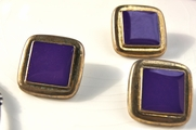 "Old Fashioned Vintage Gold Metallic Shank Purple Square Buttons 1"" (10 pcs)"