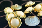 "Pearl Look Vintage Fashion Gold Buttons ÷ 3/4"" inch (12 pcs)"