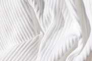 Pure White Cotton Rib Knit Fabric