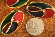 "Red, Blue, Green, Gold Vintage Shank Fashion Buttons 1 1/2"" x  7/8"" inch (15 pcs)"