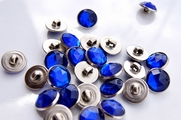 "Royal Blue Gem Silver Shank Vintage Buttons 1/2"" inch (12 pcs)"