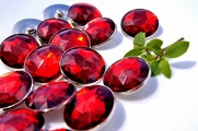 "Ruby Red Gem Silver Rim Vintage Shank Buttons 1 1/8"" inch (6 pcs)"