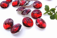 "Ruby Red Gem Silver Rim Vintage Shank Buttons 7/8"" inch (8 pcs)"