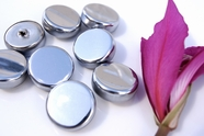 """Silver Metal Vintage Shank Buttons 1 1/8"""" inch (8 pcs)"""