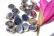"Silver Metal Vintage Shank Buttons 3/4"" inch (12 pcs)"