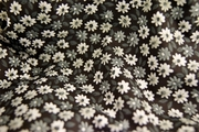 Stretch Cotton Floral Print Fabric White Gray Floral on Black 21 yards