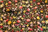 Stretch Cotton Floral Prints Fabric Yellow Pink Lilac Floral on Black 21 yards