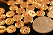 "Vintage 2 Hole Gold Shirt Buttons 1/2"" inch (15 pcs)"