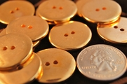 "Vintage 2 Hole Metallic Gold Buttons ÷ 1"" inch (10 pcs)"