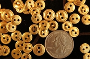 "Vintage 2 Hole Metallic Gold Shirt Buttons 3/8"" inch (15 pcs)"
