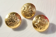 """Vintage Embossed Double Lion Gold Metal Shank Blazer Buttons 7/8"""" inch (6 pcs)"""