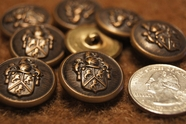 "Vintage Embossed Metal Blazer Buttons 7/8"" inch (6 pcs)"