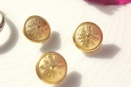 """Vintage Embossed Metal Gold Shank Buttons 5/8"""" inch (10 pcs)"""