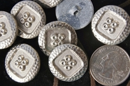 """Vintage Embossed Silver Metal Antique Shank Buttons 7/8"""" inch (12 pcs)"""