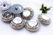 """Vintage Glass Dome Silver Shank Coat Buttons 1 1/2"""" inch (6 pcs)"""