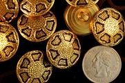 "Vintage Gold Metal Fashion Buttons � 1"" inch (6 pcs)"