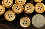 "Vintage Gold Rim 4 Hole Fashion Buttons 3/4"" inch (12 pcs)"