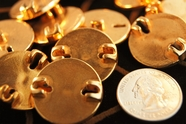 """Vintage Gold Shank Buttons 1"""" inch (12 pcs)"""