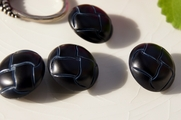 "Vintage Shank Black/Dk.Blue Plastic Leather Look Buttons 7/8"" inch (8 pcs)"