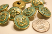 "Vintage Teal Embossed Gold Metal Blazer Buttons � 1"" inch (8 pcs)"