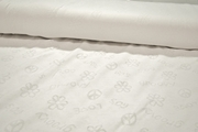 White Cotton Knit Peace and Love Imprint Fabric 2 yards