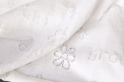 White Pure Cotton Knit with Peace and Love Lace Imprints # UU-764
