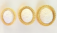 White Roses Embossed Metallic Gold Oval Shank Vintage Buttons (6 pcs)