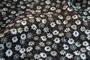 Wholesale Stretch Cotton Prints Fabric White Gray Black Floral Design 25 yards