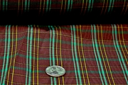 Wine Brown, Green, Yellow Bengaline Plaid Fabric # K-334