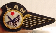 Wing Hand Wire Embroidered L A M Vintage Bullion Crest Patches