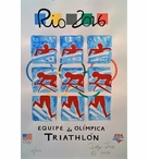 2016 USOC-USAT Team Triathlon Olympic Poster   Personally Signed & Numbered