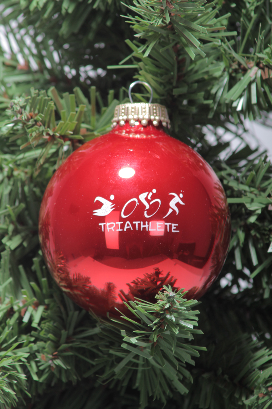 Triathlete Glass Christmas Triathlon Tree Ornament