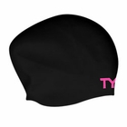 "TYR ""PINK"" Long Hair Silicone Swim Cap"