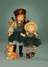 "8"" RILEY CITY CHIC & TOOTS the CAT - doll on left"