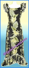 Tropical Leaf Panel Hawaiian Island Dress - Black