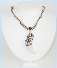 Buffalo Bone W/Cotton Cord Necklace