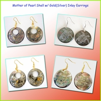 Circle Mother of Pearl W/Gold Inlay Earrings