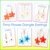 Fimo Clay Flower Dangle Earrings