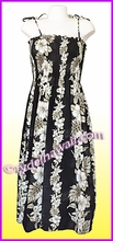 Full Length Hawaiian Smock Dress - 434Black