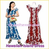 Hibiscus Lei Panel Hawaiian Island Dress - 213