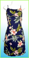 Hawaiian Sun Dress - Navy/Pink-Flowers
