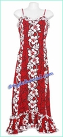 Hibiscus Lei Panel Hawaiian Spaghetti Dress