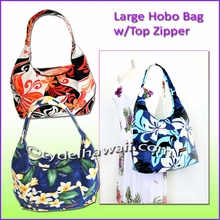 Large Hawaiian Print Hobo Bag w/Top Zipper