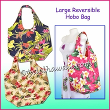 Large Reversible Hawaiian Print Hobo Bag