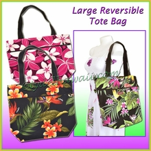Large Size Reversible Hawaiian Print Tote Bag