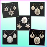 Matching Mother of Pearl shell Necklace and Earrings Sets
