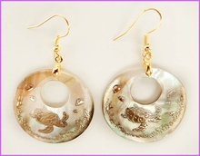 Mother of Pearl Shell W/Gold Inlay Sea Turtle Earrings